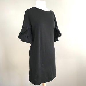 Zara Trafaluc black ruffle sleeve cotton dress L